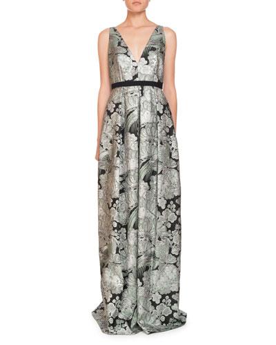 Ceren V-Neck Sleeveless Blossom Bird Jacquard Evening Gown