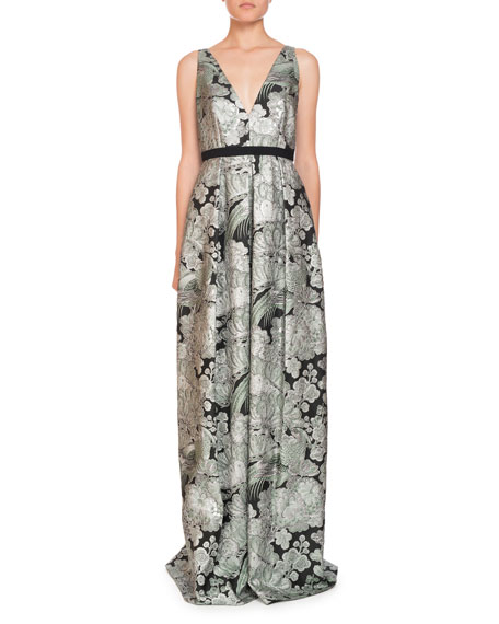 Erdem Ceren V-Neck Sleeveless Blossom Bird Jacquard Evening