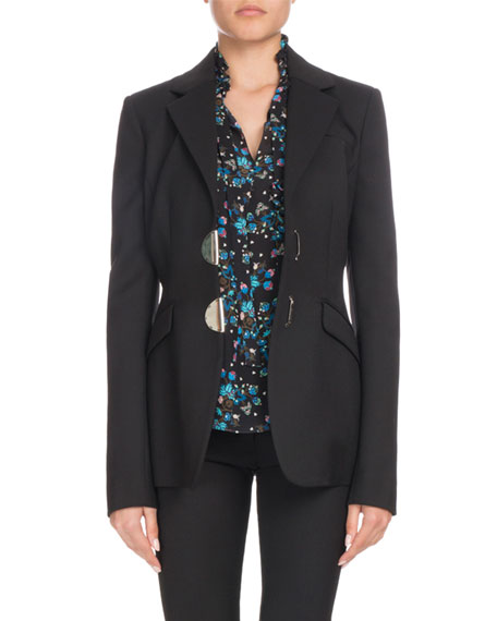 Tuttle Half-Moon Clasp Notched-Collar Fitted Wool Blazer