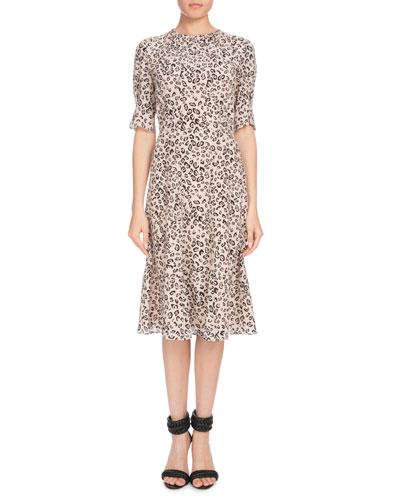 Jae Shirred-Neck Short-Sleeve Leopard-Print Silk Dress