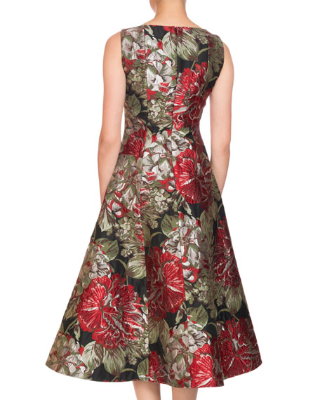 Polly Square-Neck Sleeveless Fit-and-Flare Floral-Jacquard Tea-Length Cocktail Dress