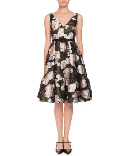 Gaby Peony Floral-Print Organza Dress W/Pockets