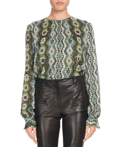 Mezouar Long-Sleeve Printed-Silk High-Low Tunic