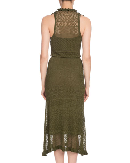 Butterfield Sleeveless Ruffled Pointelle Knit Midi Dress