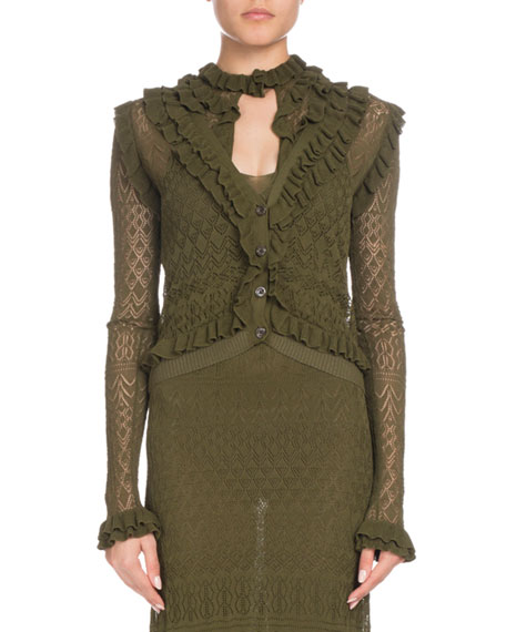 Altuzarra Kozmic Button-Front Long-Sleeve Ruffled Pointelle Lace
