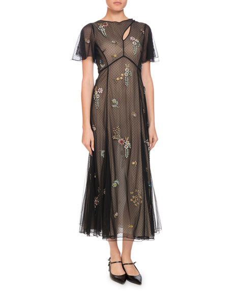 Erdem Kathryn Cape-Sleeve Beaded-Floral Sheer Tulle Dress