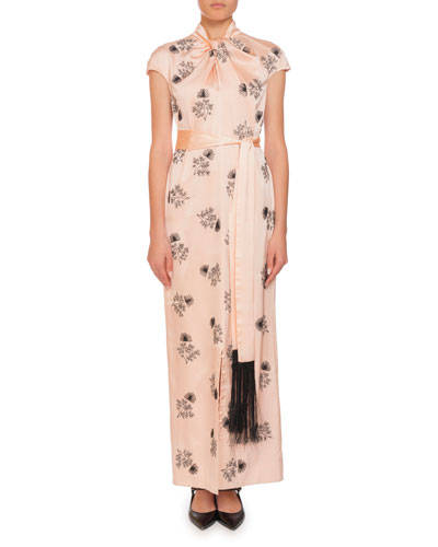 Finn Knotted-Neck Cap-Sleeve Embroidered Wrap-Sash Silk Long Dress