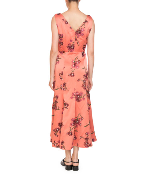 Honora V-Neck Sleeveless Pine Floral-Embroidered A-Line Ankle Dress