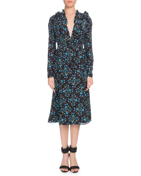 Ourika Deep-V Long-Sleeve Vine-Print Silk Dress w/ Ruffled Trim