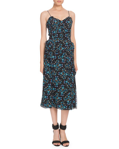Sleeveless Vine-Print Crepe de Chine Midi Dress