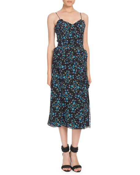 Altuzarra Sleeveless Vine-Print Crepe de Chine Midi Dress