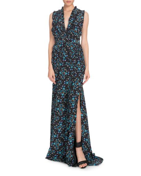 V-Neck Sleeveless Vine-Print Long Evening Gown w/ Ruffled Trim