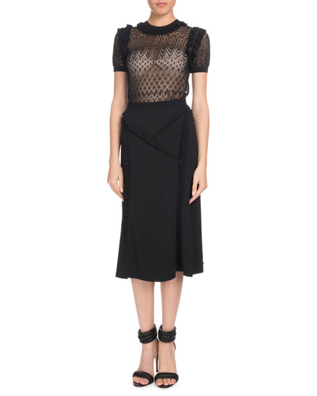 Altuzarra Ashbury Short-Sleeve Crewneck Pointelle-Lace Top