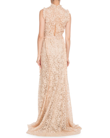 Medina Sleeveless Floral-Lace Column Evening Gown w/ Ruffled Trim
