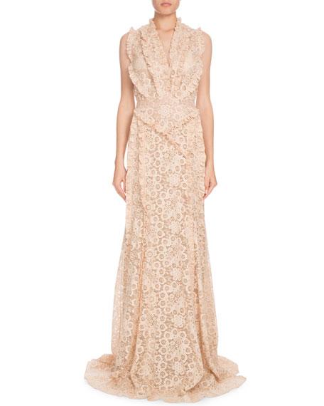 Medina Sleeveless Floral-Lace Column Evening Gown w/ Ruffled Trim