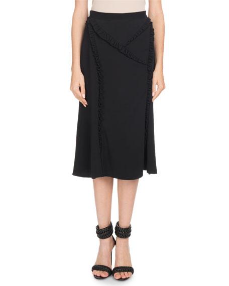 Miniret A-Line Front-Slit Crepe Skirt w/ Ruffled Trim