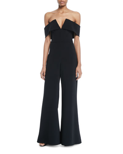 Off-the-Shoulder V-Neck Wide-Leg Palazzo Stretch-Cady Jumpsuit