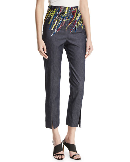 Cushnie Et Ochs High-Waist Straight-Leg Denim Crop Pants