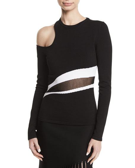 Cushnie Et Ochs Cold-Shoulder Striped Sheer-Middle Knit Top