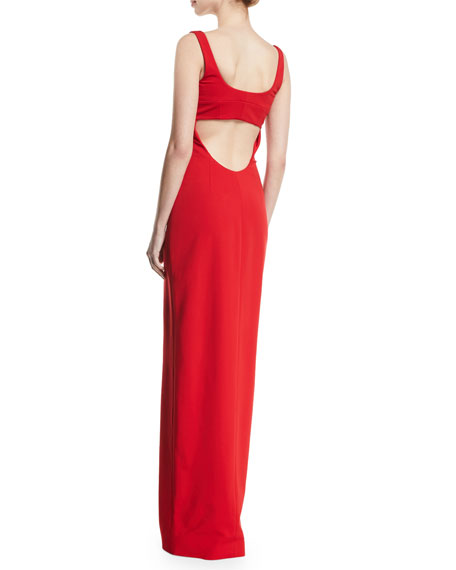 Scoop-Neck Sleeveless 2-Way Contrast Zipper Fitted Column Evening Gown