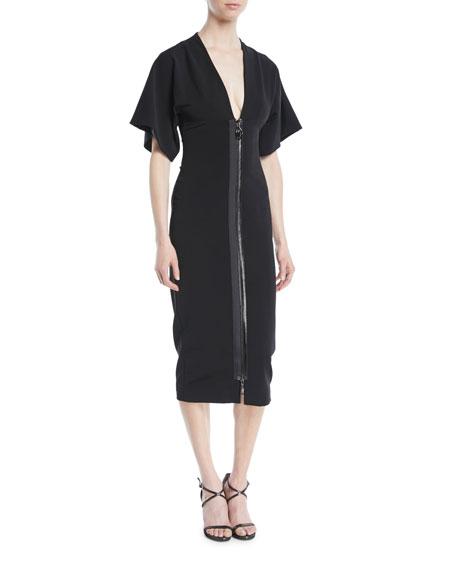 Deep-V Two-Way Zip Kimono-Sleeve Midi Dress