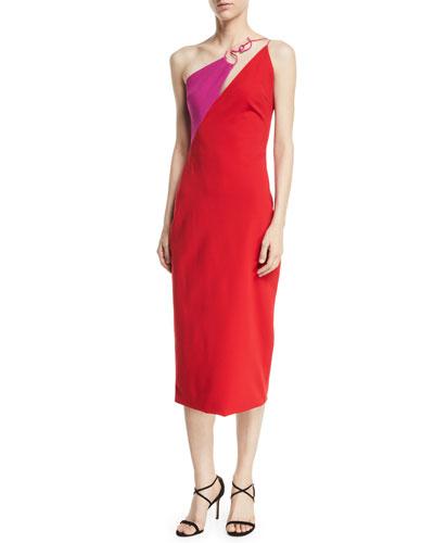 Sleeveless Two-Tone Sheath Midi Dress w/ Twisted Hardware