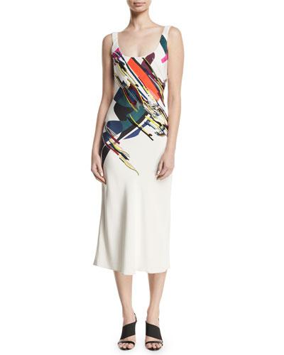 Sleeveless Scoop-Neck Expressionist-Print Beaded Bias-Cut Cami Slip Dress