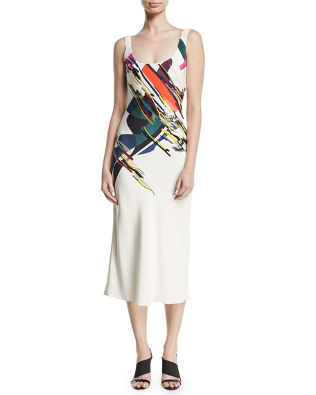Cushnie Et Ochs Sleeveless Scoop-neck Expressionist-print Beaded Bias-cut Cami Slip Dress In White