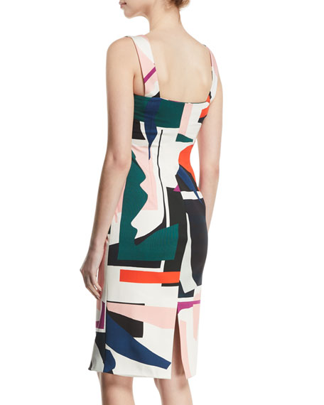 Zip-Front Sleeveless Expressionist-Print Sheath Dress
