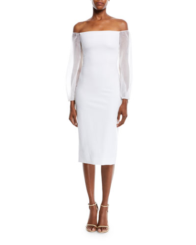 Off-the-Shoulder Organza-Sleeve Fitted Midi Cocktail Dress