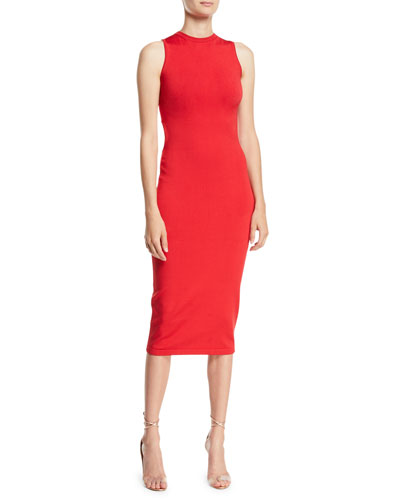 Sleeveless Body-Con Midi Dress w/ Cutout Back