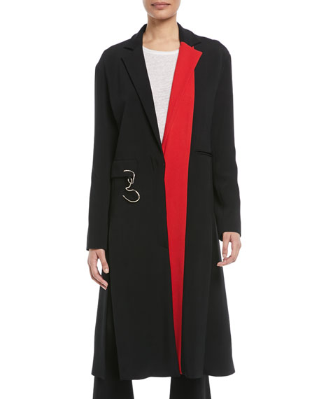 Cushnie Et Ochs Notched-Lapel Colorblocked Stretch-Cady Midi Coat