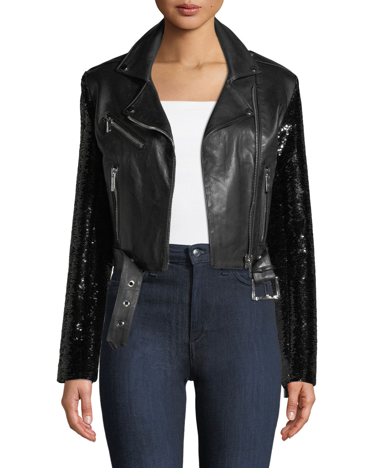 Nour Hammour Let's Dance Cropped Leather Jacket w/ Sequin ...