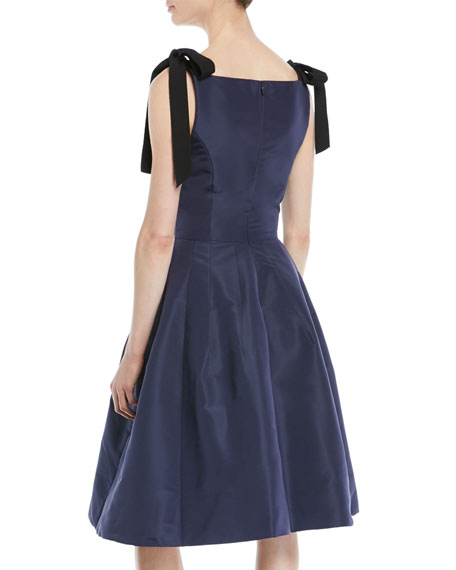 Sleeveless Bow-Shoulder Fit-and-Flare Cocktail Dress with Paillette Embroidery