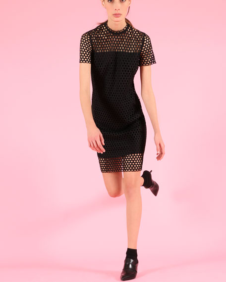 Circle Lace Stand-Collar Short-Sleeve Sheath Dress