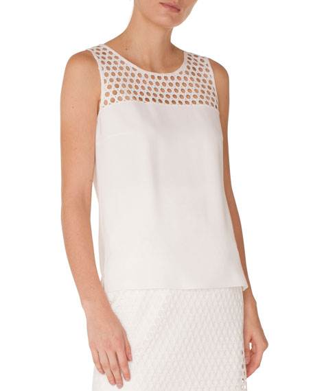 Sleeveless Round Lace-Yoke Back Box Pleat Viscose Top