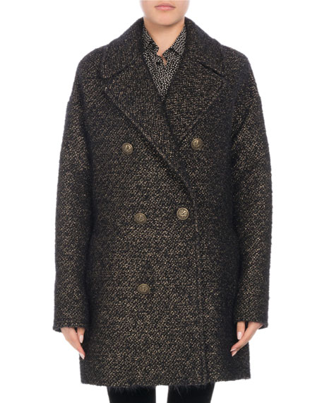 Double-Breasted Button-Front Tweed Caban Coat
