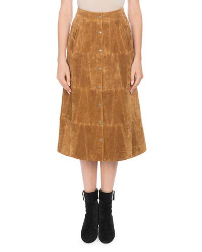 Snap-Front Calfskin Suede Midi Skirt