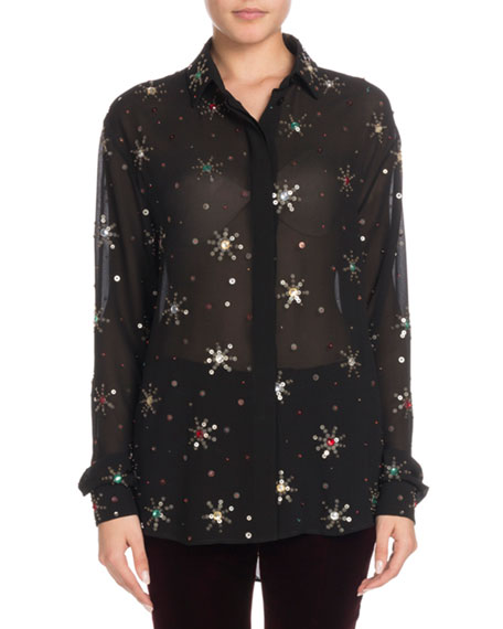 Multicolor Starburst-Embellishment Button-Down Long-Sleeve Silk Blouse