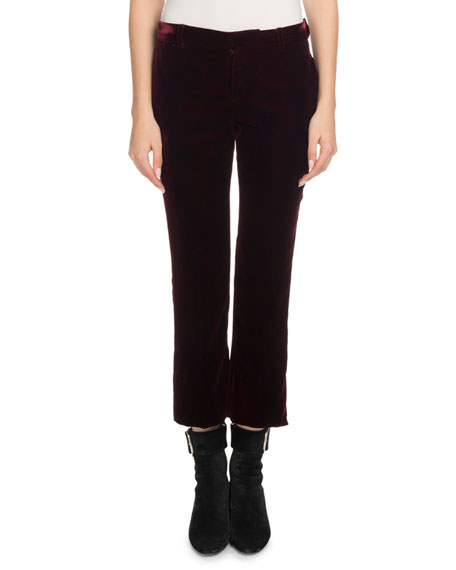 Straight-Leg Cropped Velvet Trousers