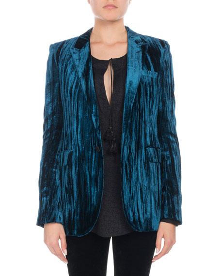 Crinkled-Velvet One-Button Blazer