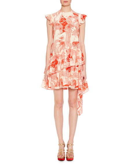 Cap-Sleeve Eve-Print Silk Dress with Asymmetric Hem