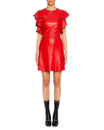 Studded Leather Ruffle-Sleeve Cocktail Dress