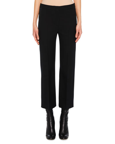 Flat-Front Cigarette-Leg Wool-Silk Pants