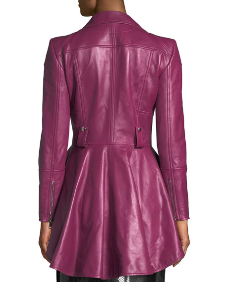 Zip-Front Peplum Leather Moto Jacket