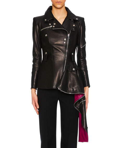 Alexander McQueen Zip-Front Leather Biker Jacket w/ Contrast