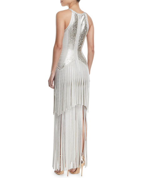 Sleeveless Foil Fringe Bandage Evening Gown w/ Racerback