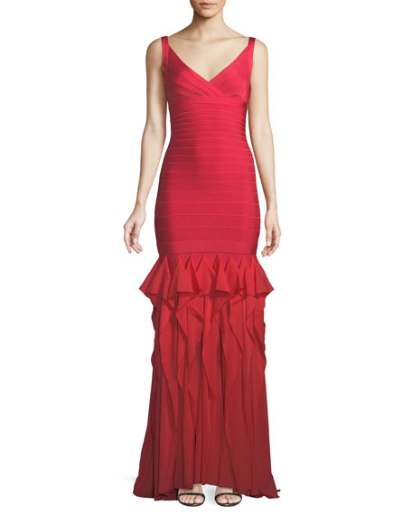 V-Neck Sleeveless Bandage Evening Gown w/ Ruffled Chiffon Skirt