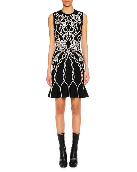 Jewel-Neck Sleeveless Art-Graphic Cocktail Dress w/ Peplum Hem