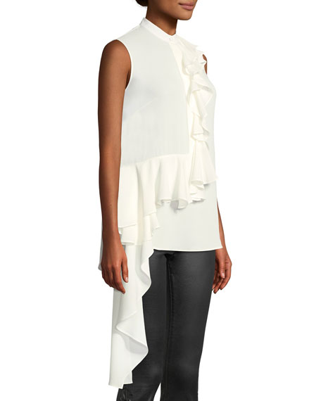 Mock-Neck Sleeveless Button-Front Asymmetric-Ruffle Silk Blouse